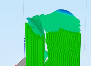 Distance entre extrémité du support et l'objet (ici la taille du support a été exagérée afin de marquer cet écart)